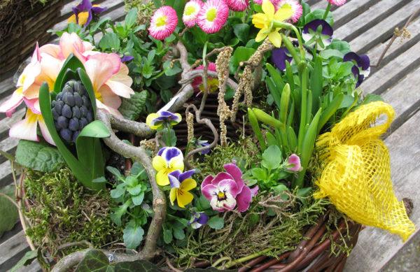 Osterdekoration - Korb mit Frühlingsblühern